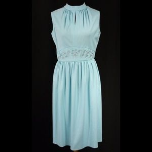 Vintage Light Blue Sleeveless Sundress Dress
